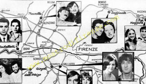 <b>Mappa dei duplici omicidi del Mostro di Firenze</b>