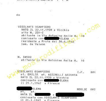 <b>18 Novembre 1985 Stato di famiglia di Giampiero Vigilanti</b>
