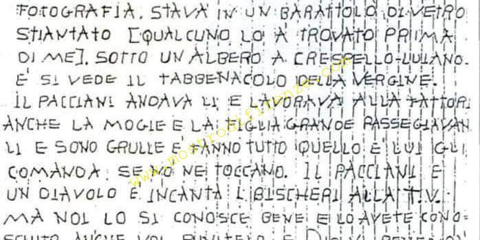 <b>25 Maggio 1992 Lettera anonima ai Carabinieri di San Casciano</b>