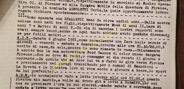 <b>12 Giugno 1981 Testimonianza di Carla Agnoletti</b>