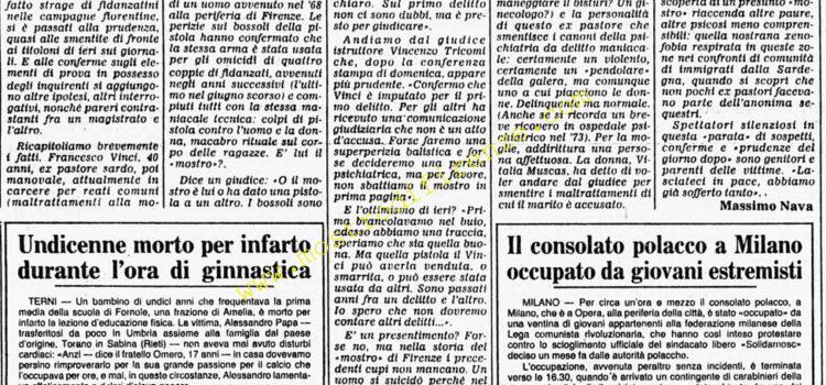 <b>9 Novembre 1982 Stampa: Corriere della Sera</b>