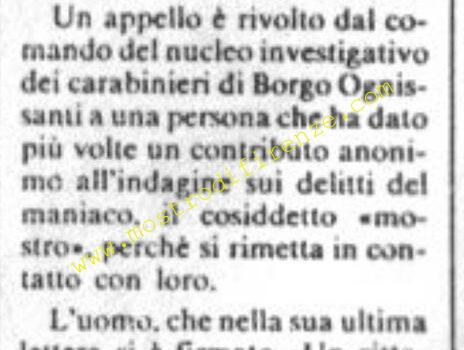 <b>20 Luglio 1982 Il trafiletto dei Carabinieri sul La Nazione</b>