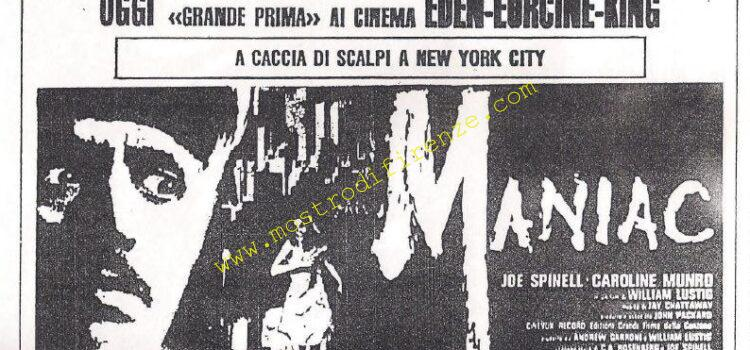 <b>21 Febbraio 1981 Stampa: Il Messaggero pag.10 pubblicità del film Maniac a Roma</b>