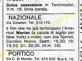 <b>22 Novembre 1981 Stampa: La Nazione programmazione del film Maniac a Firenze</b>