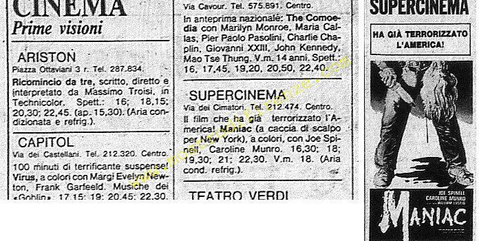 <b>30 Agosto 1981 Stampa: La Nazione programmazione del film Maniac a Firenze</b>