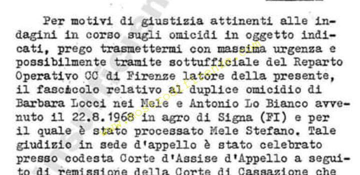 <b>17 Luglio 1982 Richiesta del fascicolo di appello di Stefano Mele a Perugia</b>