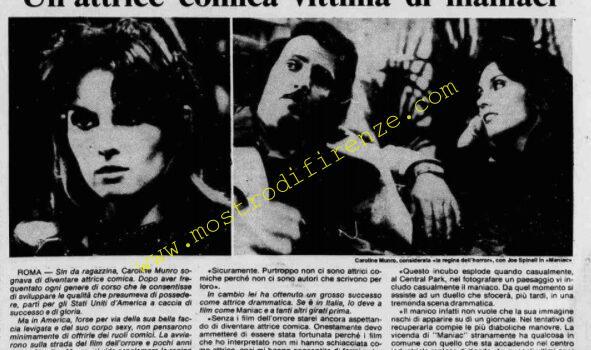 <b>16 Gennaio 1980 Stampa: Stampa Sera presentazione del film Maniac a Roma</b>