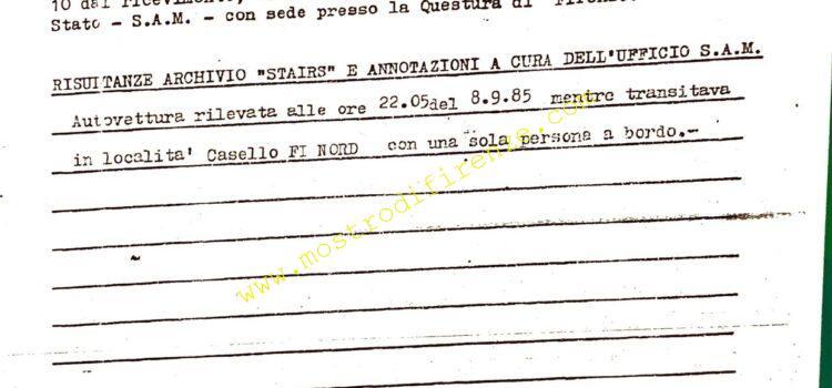<b>9 Settembre 1985 La segnalazione al casello FI Nord</b>