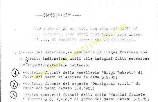 <b>5/6 Settembre 1985 Scontrini di Nadine Mauriot e Jean Michel Kraveichvil</b>