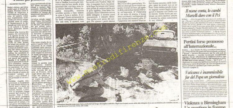 <b>11 Settembre 1985 Stampa: La Nazione</b>