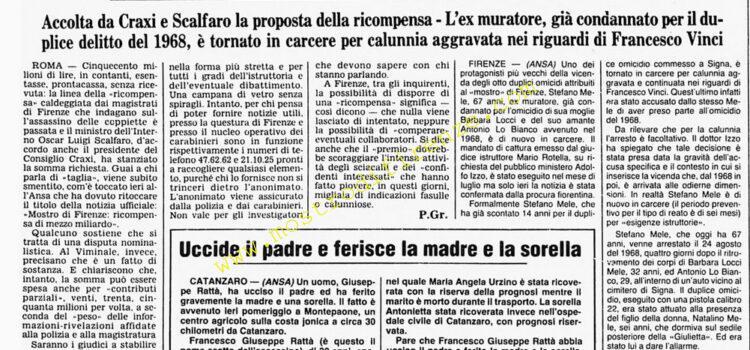<b>19 Settembre 1985 Stampa: Corriere della Sera</b>