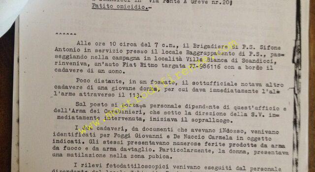 <b>10 Giugno 1981 Verbale di sopralluogo delitto di Carmela De Nuccio e Giovanni Foggi</b>